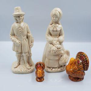 Pilgrim & Turkey Ceramic Set Gloss Hand Made Decor
